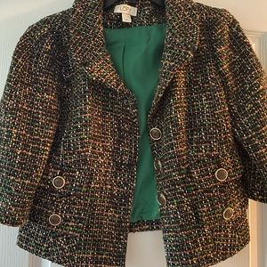 LOFT tweed three quarter sleeve blazer